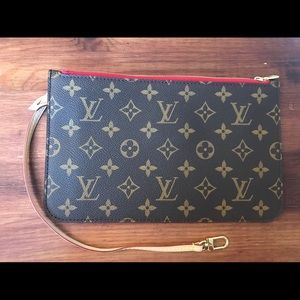 Louis Vuitton Bags - Authentic Louis Vuitton NEW Neverfull RED wristlet